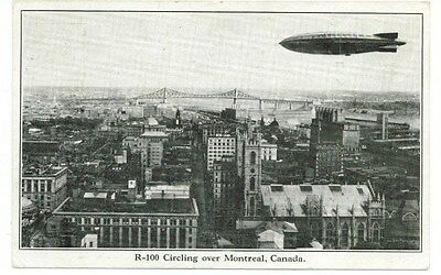 1930 Postcard R-100 Circling Over Montreal, Quebec, Canada