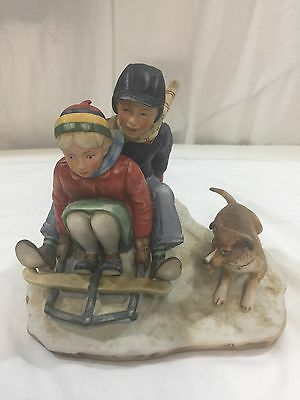 Lg 3D Norman Rockwell Bone China Boy Girl Sledding Winter Downhill Daring Sleigh