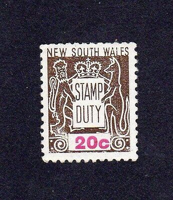 NEW SOUTH WALES 20c brown Stamp Duty MINT UNHINGED MUH MNH