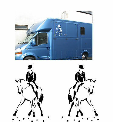 2x Horse box trailer stickers decal DRESSAGE HORSE & RIDER graphics