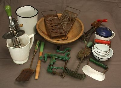 Lot Collection of Antique Kitchenware Beater Mixer Wooden Bowl Grater Peeler