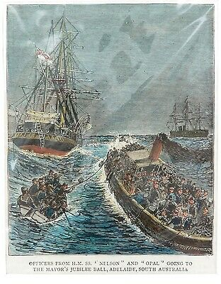 "Superb 1887 Hand Coloured Wood Engraving. Hms ""Nelson"" & ""Opal"", Adelaide S/aust"