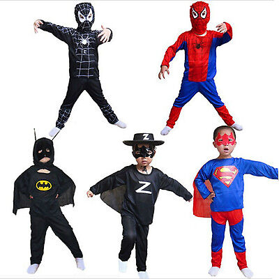 Boy Kids Children Superhero Fancy Dress Costume Spiderman Zorro Halloween Outfit
