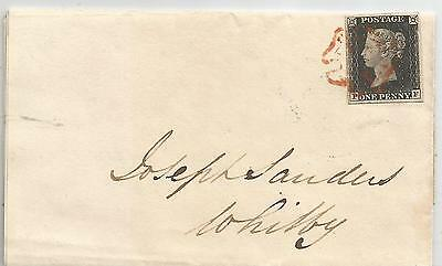 1840 Penny  Black  (Pf) Large Margins All Round On Cover To Whitby Uncreased