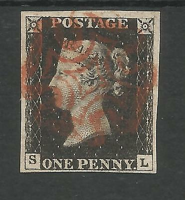 1840 Penny  Black (Sl) Pl4  A Lovely 4 Margin Example  Red Maltese Cross Cancel