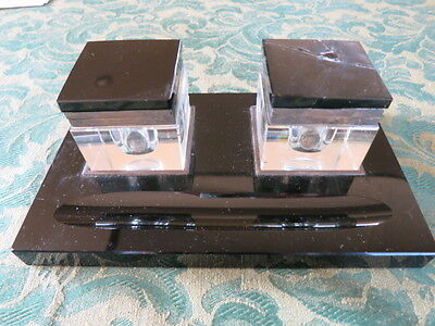 Inkwell , glass ink wells with brass collars and black stone lids and Base