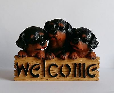 Three Puppies 'Welcome' Dog Ornament