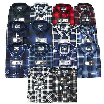 3 x Milton Flannelette Shirts Assorted Colours Size Small to 6XL - Open Front
