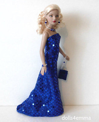 TINY KITTY CLOTHES Blue Shimmer GOWN + PUSE + JEWELRY HM Fashion NO DOLL d4e