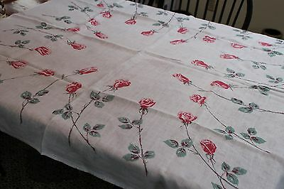 Vintage Linen Tablecloth Long Stemmed Red Shaded Roses 46x50