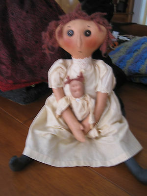 """Handcrafted doll primitive doll holding doll 19"""""""