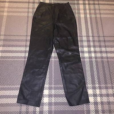 Ladies Vintage 80s 90s Real Leather Straight Leg Mom Mum Style Trousers 8 6