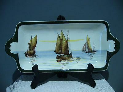 Lovely Vintage Royal Doulton 'ships & Barges' Series Sandwich Plate - Vg Cond