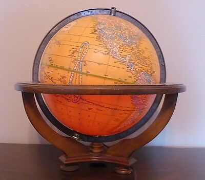 Vintage Butler George F. Cram Illuminated Table Globe on Wood Stand
