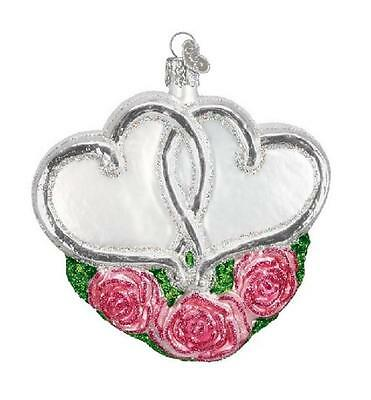 """Pink Entwined Hearts Glass Old World Christmas Ornament owc 30023 4"""" High"""