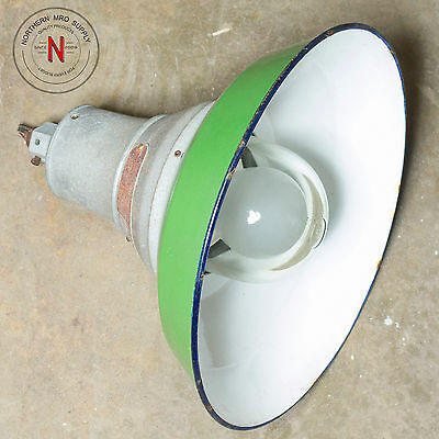 Vintage 1930's Crouse-Hinds Eva-105 Explosion-Proof Lamp, Green Porcelain Shade