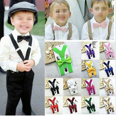 Kids Baby Suspender and Bow Tie Matching Set Boys Girls Adjustable Suspenders ZX