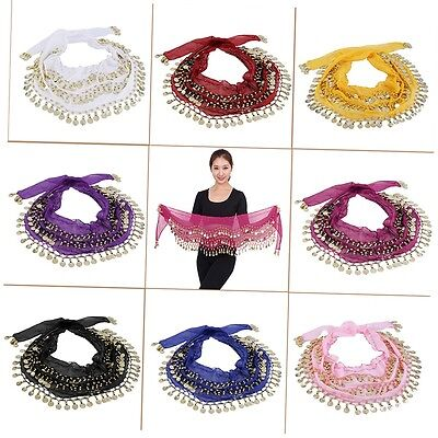 3 Rows 128 Gold Coins Belly Dance Costume Hip Scarf Skirt Belt Wrap Waist ZX