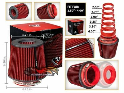 """RED 2.5""""-4.0"""" Inlet Universal Cold Air Intake Cone Adjustable Size Dry Filter"""