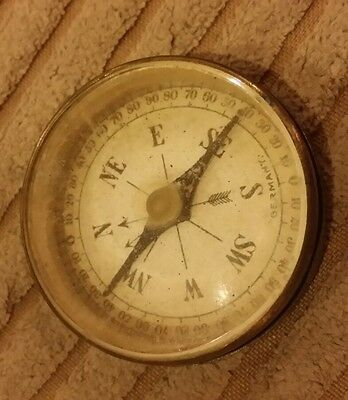 Vintage pocket brass bevel edge glass compass Germany