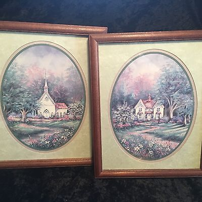 Home Interiors Set of 2- Country Church & Home'' Pictures