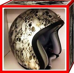 Helmet Harley Skull silver bright,open face 3/4 old school cafe,Retro,Helmet Vtg