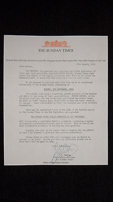 The Beatles ✴ letter to fanclub members from The Sunday Times ✴ 1968