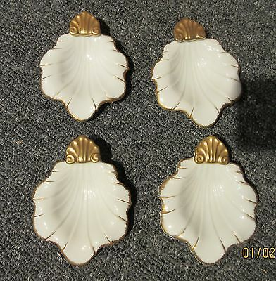 set of 4 small ESD Japan white & gold leaf shaped dishes. 25252