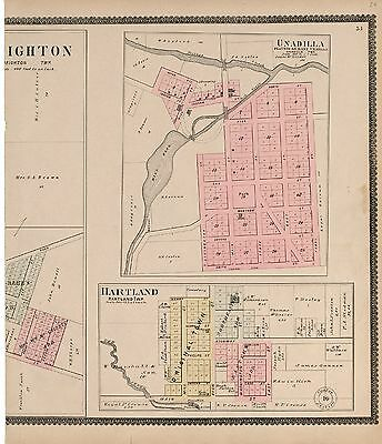 1895 LIVINGSTON COUNTY plat maps MICHIGAN GENEALOGY history Atlas Land P93