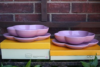 Le Creuset RARE Flower Plate set of 2 Bowl Set of 2 new in box & Le Creuset RARE Flower Plate set of 2 Bowl Set of 2 new in box Satin Pink