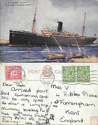 Angleterre - PAQUEBOT - KASHMIR - Posted at Sea 1928 - London FS - Taxée