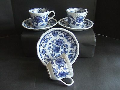 """Rare Adams  """"Blue Butterfly"""" Cups & Saucers, Discontinued Blue & White x 3"""