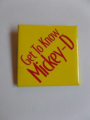 Vintage McDonalds Restaurant Get to Know Mickey-D Button Pin