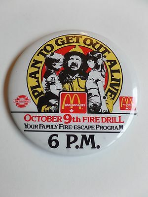 Vintage McDonalds Restaurant Employee Button Pin Plan To Get Out Alive Fire