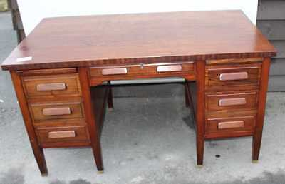 1930s Neat Sturdy Mahogany Pedestal desk with Mahogany Top and Slides.