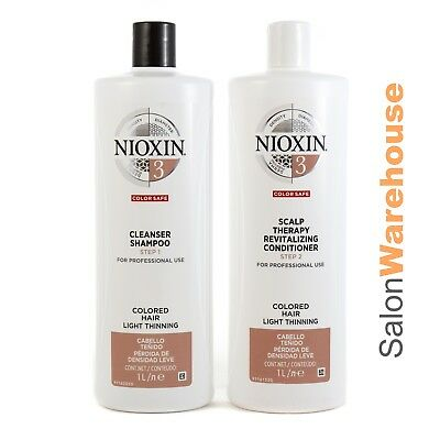 Nioxin System 3 Cleanser +Scalp Therapy Conditioner Litre Pack 1000ml Free Pumps