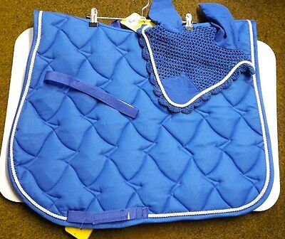 Royal Blue Saddle cloth with white rope & matching fly Veil BNWT Full size
