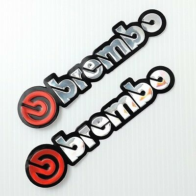2Pc. Red Brembo Brake Racing Reflective Decal Sticker Die-Cut Foil Emboss