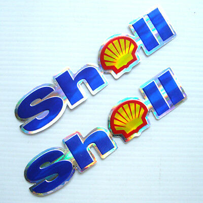 *2Pc. Shell Oil Racing Reflective Decal Sticker Die-Cut Foil Emboss Auto Motor