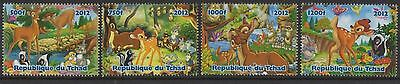 Set Of 4 Bambi Disney Tchad 2012 Mnh Stamps