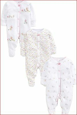 Bnwt.next 3 Pack White Bunny Sleepsuits 12-18 Mths