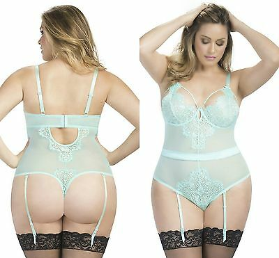 Ladies Aqua Eyelash Lace Teddy bodysuit lingerie leotard 8-10 12-14 16-18 20-22