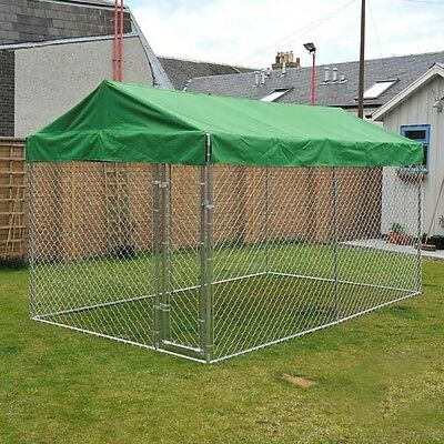 Galvanised Dog Run Sunshade Strong Secure Pet Dogs Puppy Enclosure 13 Feet Cage