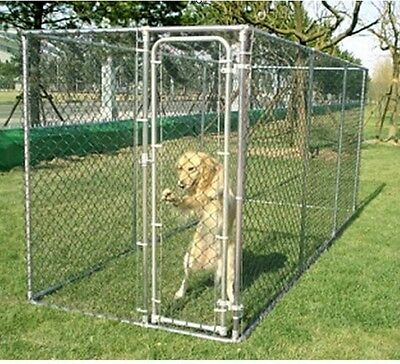 Galvanised 2 In 1 Dog Run Cage Pet Play Pen Fence Safe Secure Dogs Enclosure