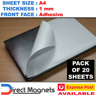 20 x A4 Magnetic Magnet Sheets Adhesive Front - School Wedding Office 1mm 1.0mm
