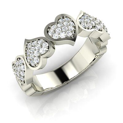 925 Sterling Silver Heart Design Wedding Band Ring with CZ Cubic Zirconia