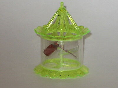 Plastic Spinner Twirler Tinkle Toy Yellow Bird Cage Christmas Ornament 1950's