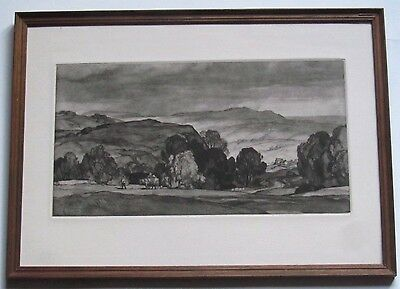 Leonard R Squirrell, etching of rural landscape, signed and dated 1933, framed