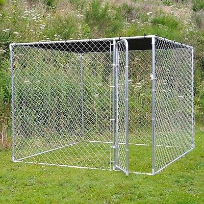 Galvanised Dog Run Sunshade Strong Secure Pet Dogs Puppy Enclosure 7.5 Feet Cage