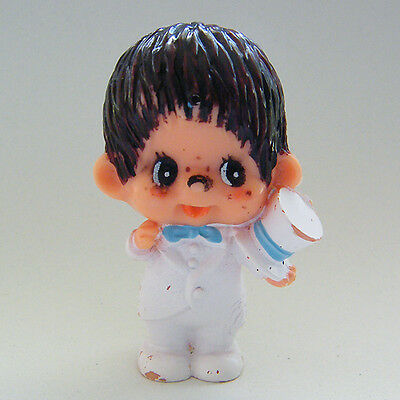 Vintage MONCHHICHI Groom in White Tux with Top Hat PVC Figure 1 1979 Sekiguchi